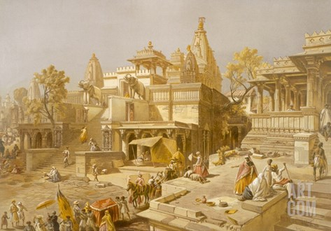 The Temple of Juggernauth, Oodepoore, from 'India Ancient and Modern', 1867 (Colour Litho) Stretched Canvas Print