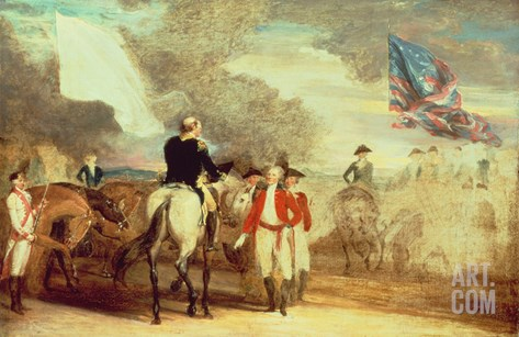 The Surrender of Cornwallis at Yorktown, 1787 Stretched Canvas Print