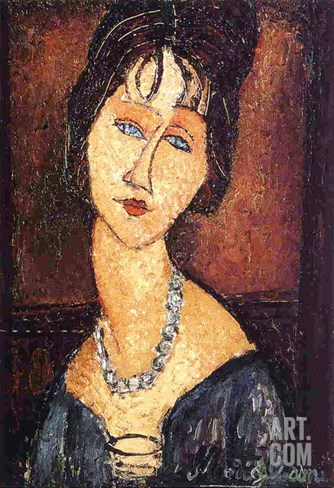 Jeanne Hebuterne with a Necklace, 1917 Stretched Canvas Print