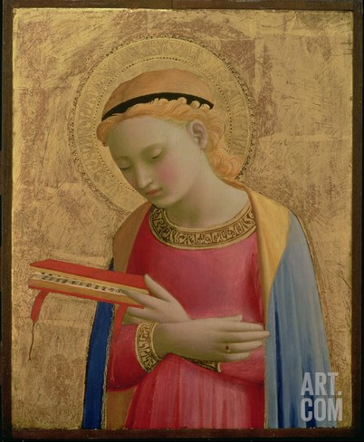 Virgin Annunciate, 1450-55 (Gold Leaf and Tempera on Wood Panel) (See also 139311) Stretched Canvas Print