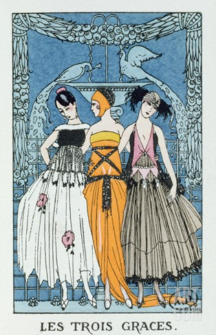 Les Trois Graces, 1918 (Colour Litho) Stretched Canvas Print