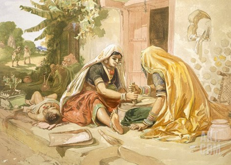 Women Grinding Corn, from 'India Ancient and Modern', 1867 (Colour Litho) Stretched Canvas Print