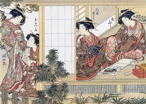 Japanese Women Reading and Writing (Colour Woodblock Print) Stretched Canvas Print