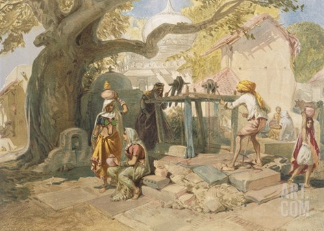 The Village Welll, from 'India Ancient and Modern', 1867 (Colour Litho) Stretched Canvas Print