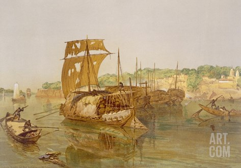 Boats on the Ganges, from 'India Ancient and Modern', 1867 (Colour Litho) Stretched Canvas Print