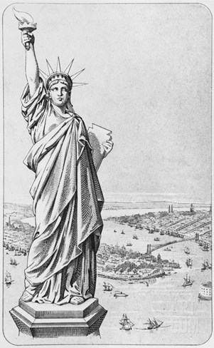 The Statue of Liberty, New York, C.1885 (Engraving) (B/W Photo) Stretched Canvas Print