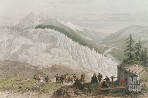 The Glacier and the Chamonix Valley, Engraved by Adolphe Bayot (1810-66) Mid 19th Century Stretched Canvas Print