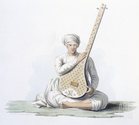 A Tumboora, Musical Instrument Played by the Higher Castes, from 'Costumes of India' by E. Orme Stretched Canvas Print