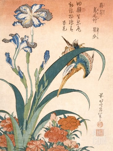 Kingfisher, Irises and Pinks (Colour Woodblock Print) Stretched Canvas Print
