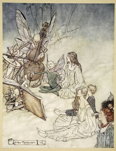 And a Fairy Song, Illustration from 'Midsummer Nights Dream' by William Shakespeare, 1908 Stretched Canvas Print