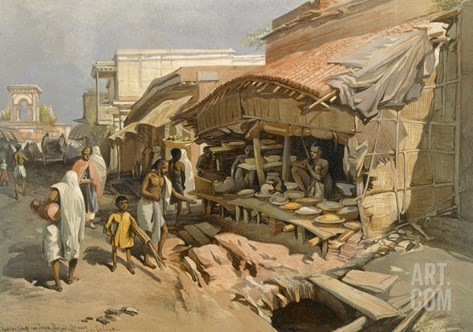 Native Shop in a Calcutta Bazaar, from 'India Ancient and Modern', 1867 (Colour Litho) Stretched Canvas Print