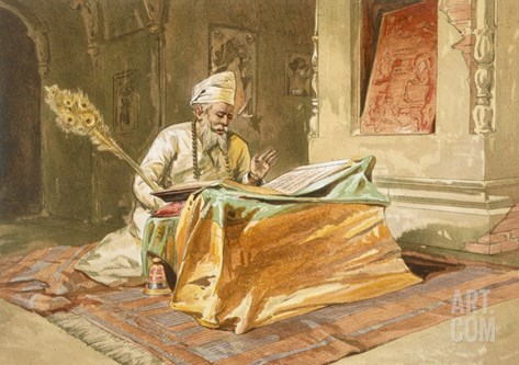 Sikh Priest Reading the Grunth, Umritsar, from 'India Ancient and Modern', 1867 (Colour Litho) Stretched Canvas Print