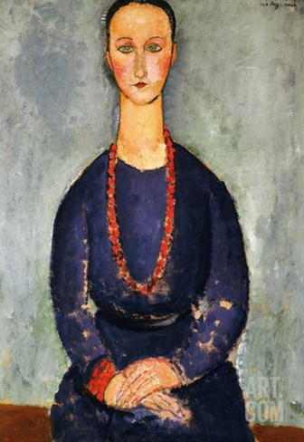 The Red Necklace, 1918 Stretched Canvas Print