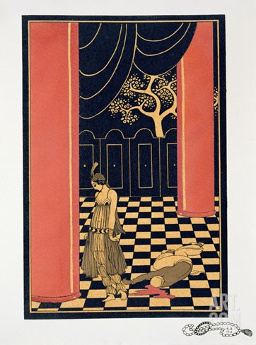Tamara Karsavina (1885-1978) in the Title Role of 'Thamar', 1914 (Pochoir Print) Stretched Canvas Print