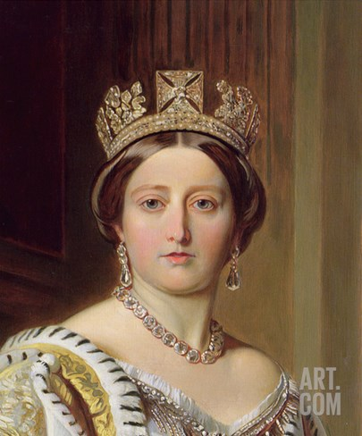 Portrait of Queen Victoria, 1859 (Detail) Stretched Canvas Print