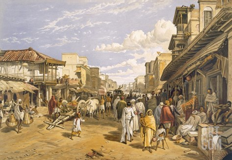 The Chitpore Road, from 'India Ancient and Modern', 1867 (Colour Litho) Stretched Canvas Print