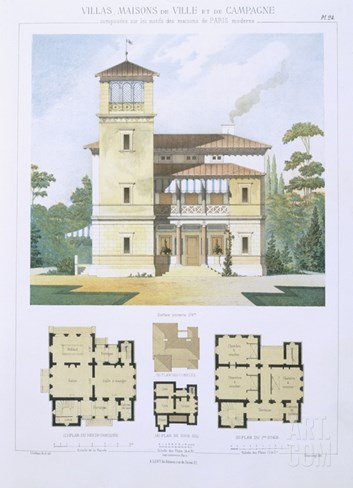 Design from 'Town and Country Houses Based on the Modern Houses of Paris', C.1864 (Colour Litho) Stretched Canvas Print