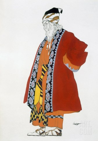Costume Design for an Old Man in a Red Coat (Colour Litho) Stretched Canvas Print