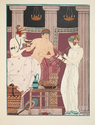 Music Therapy, Illustration from 'The Works of Hippocrates', 1934 (Colour Litho) Stretched Canvas Print
