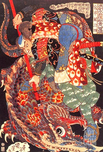 Miyamoto Musashi Killing a Giant Nue Stretched Canvas Print