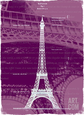White Eiffel Tower Paris in Rosy Stretched Canvas Print