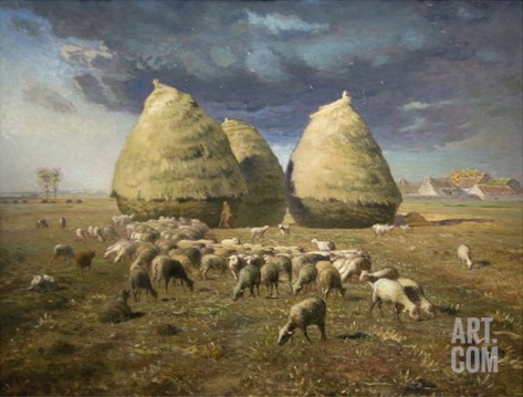 Haystacks; Autumn 1874 Stretched Canvas Print