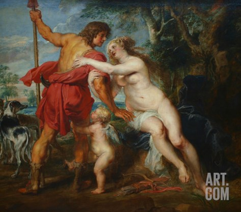Venus and Adonis Stretched Canvas Print