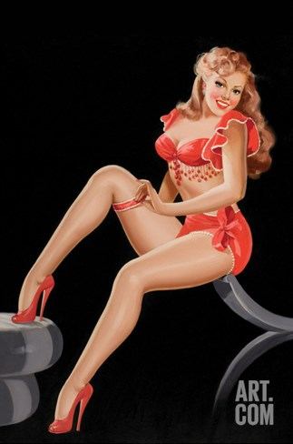 Eyeful Magazine: Pinup in Red Stretched Canvas Print