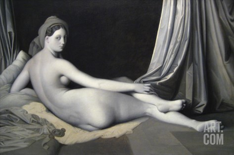 Odalisque in Grisaille Stretched Canvas Print
