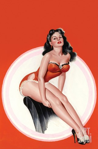 Eyeful Magazine; Brunette in a Red Bathing Suit Stretched Canvas Print