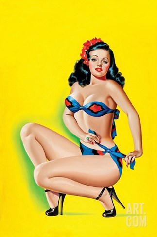 Beauty Parade Magazine; Pinup in a Bikini Stretched Canvas Print