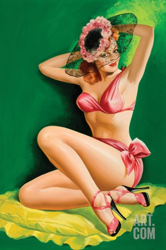 Flirt Magazine; Pinup with Hat Stretched Canvas Print