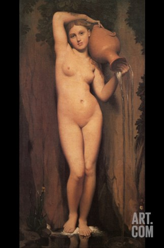 La Source; Nude with Pitcher Stretched Canvas Print