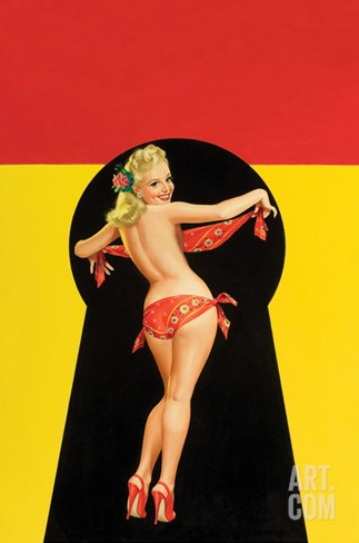 "Whisper Magazine; ""Keyhole Pinup with Bandana"" Stretched Canvas Print"