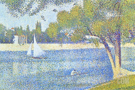 The Seine by the Island of Jatte in Spring Stretched Canvas Print