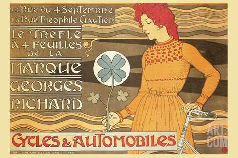 Cycles and Automobile by Marque George Richard Stretched Canvas Print