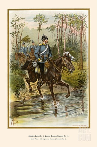 Hanoverian Cavalry Patrol 16th Dragoon Regiment Stretched Canvas Print