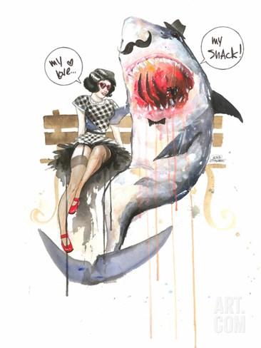 Mr Shark Stretched Canvas Print