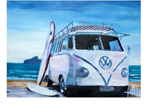 The White Volkswagen Surf Bus Stretched Canvas Print