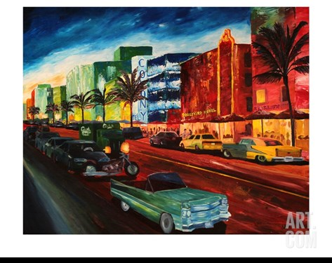 Miami Ocean Drive with Mint Cadillac Stretched Canvas Print