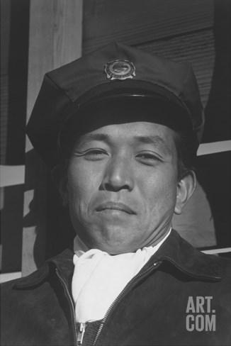 Mitsuo Matsuro, Fireman Stretched Canvas Print