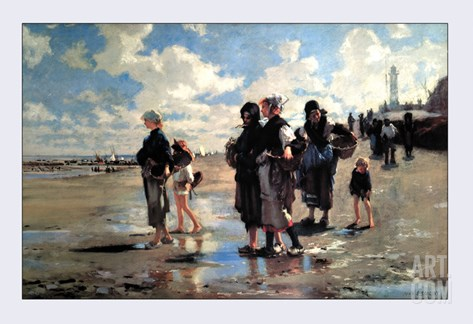Oyster Gatherers of Cancale Stretched Canvas Print