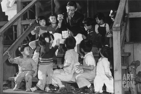 Mr. Matsumoto and Group of Children Stretched Canvas Print