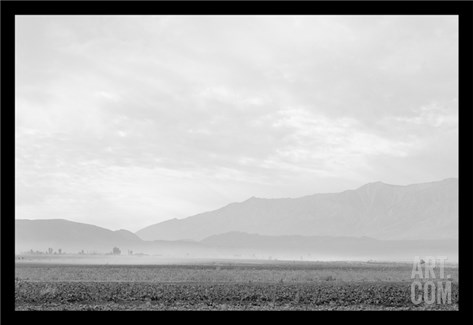 Dust Storm over the Manzanar Relocation Camp Stretched Canvas Print