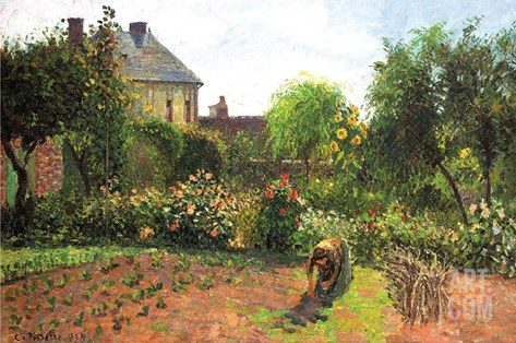 The Artist Garden at Eragny Stretched Canvas Print