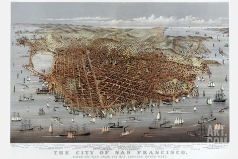 The City of San Francisco. Birds Eye View from the Bay Looking South-West Stretched Canvas Print