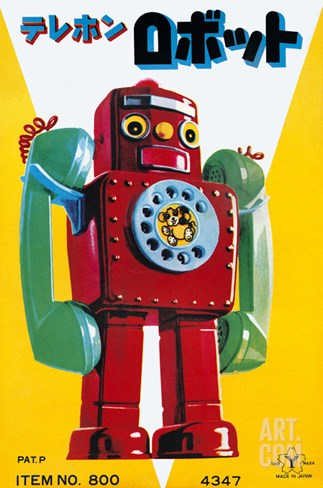 Telephone Robot Stretched Canvas Print