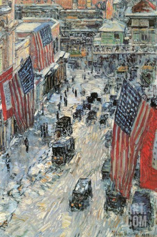 Flags on Fifth Avenue, Winter 1918 Stretched Canvas Print