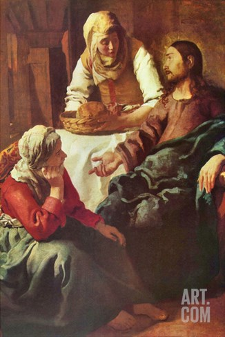 Christ with Mary and Martha Stretched Canvas Print