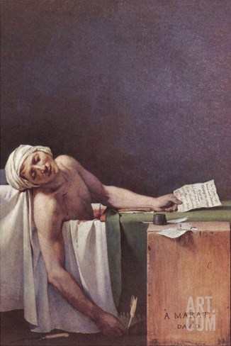 The Murdered Marat Stretched Canvas Print